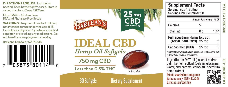 Barlean's Ideal CBD Hemp Oil Softgels 25mg