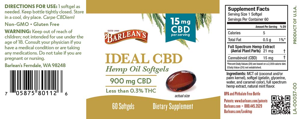 Barlean's Ideal CBD Hemp Oil Softgels 15mg
